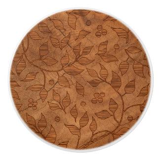 Light Brown Leafy Branches Ceramic Knob
