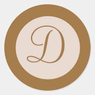 light brown monogram classic round sticker