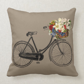 Light brown taupe  bicycle flower   Throw pillow