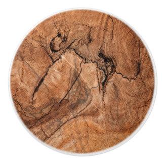Light Brown Wood Design Ceramic Knob