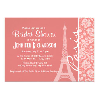 Light Coral Damask Paris Eiffel Tower Personalized Invite