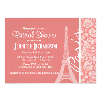 Light Coral Damask; Paris; Eiffel Tower Personalized Invite