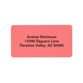Light Coral Solid Color Address Label