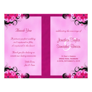 Light Fuchsia Floral Wedding Program Templates Flyer