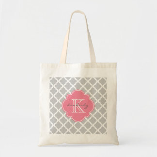 Light Gray and Pink Moroccan Quatrefoil Monogam Tote Bag