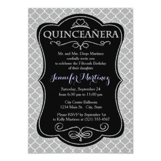 Light Gray and White Vintage Moroccan Quatrefoil Invites