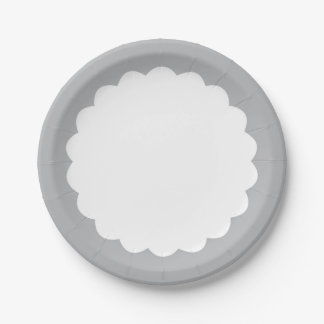 Light Gray Scallop - Personalizable 7 Inch Paper Plate