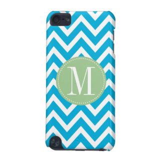 Light Green and Blue Chevron Custom Monogram iPod Touch 5G Cases