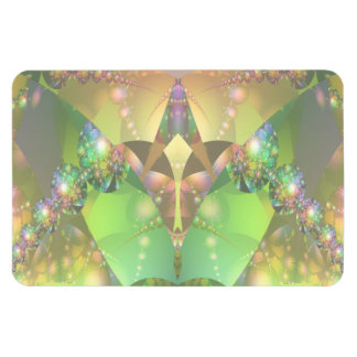 Light Green and Pink Bubble Fractal Rectangular Photo Magnet