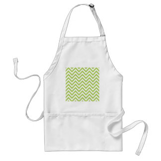 Light Green and white Striped Zigzag Pattern Standard Apron