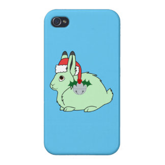 Light Green Arctic Hair - Santa Hat & Silver Bell Cover For iPhone 4