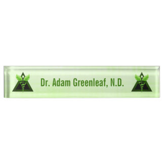 Light Green Caduceus Alternative Medicine Symbol Nameplate