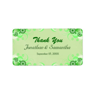 Light Green Floral Medium Wedding Favor Labels