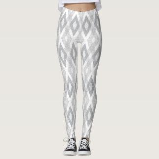 Light Grey and White Grunge Harlequin Pattern Leggings