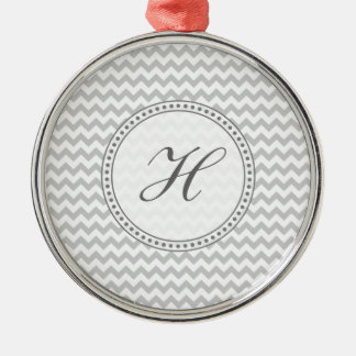 Light Grey Chevron - Custom Text Silver-Colored Round Decoration