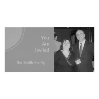 Light Grey Modern Party Invite Photo Card Template