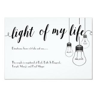 Light of my life wedding details card