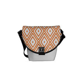 Light Orange and White Diamonds Messenger Bag