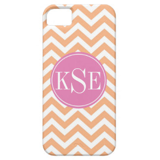 Light orange chevron stripe monogram iphone 5 case