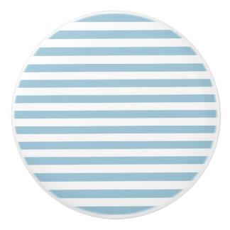 Light Pastel Blue & White Stripes Ceramic Knob