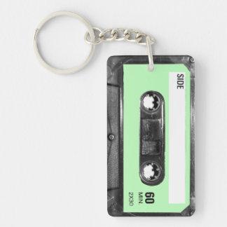 Light Pastel Green Label Cassette Key Ring