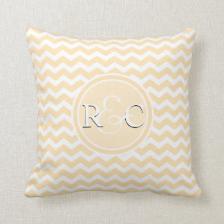 Light Peach Chevron Customized Initials Monogram Cushion