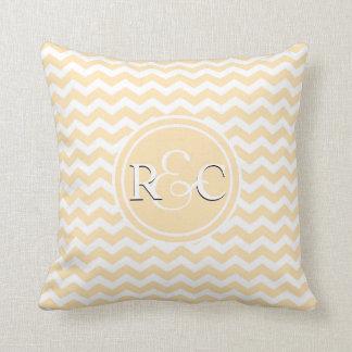 Light Peach Chevron Personalized Initials Monogram Cushion