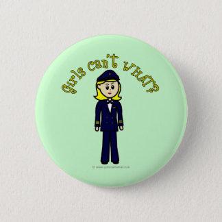 Light Pilot Girl 6 Cm Round Badge