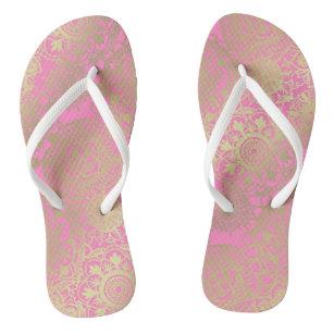 Light Pink and Gold Mandala Pattern Flip Flops
