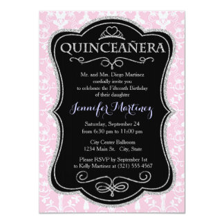 Light Pink and White Damask Pattern Custom Announcement