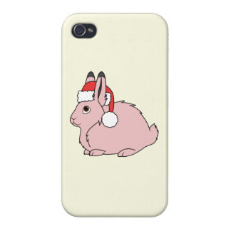 Light Pink Arctic Hare with Red Santa Hat iPhone 4/4S Cover
