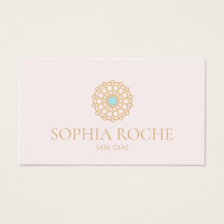 Light Pink Circle Mandala Logo Beauty Skincare Spa Business Card