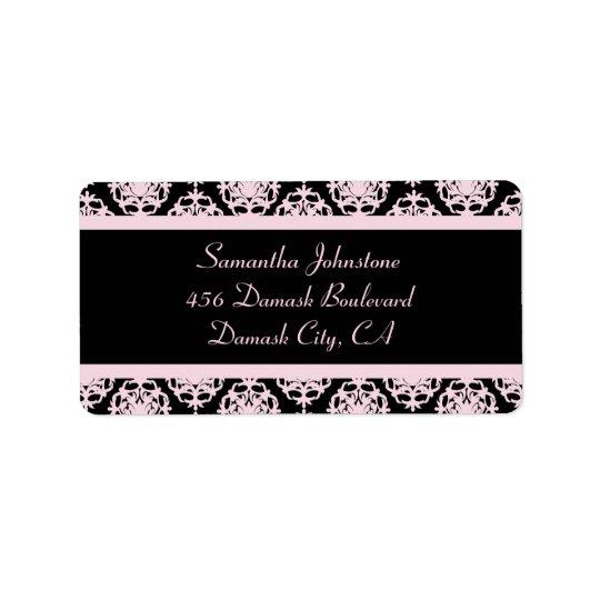 Light Pink Damask on Black Address Label
