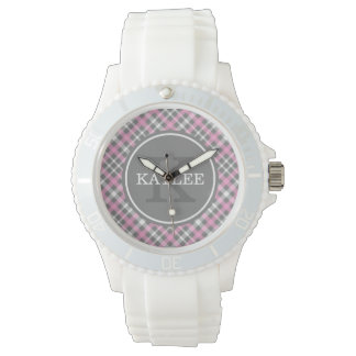 Light Pink Grey Plaid Pattern with Monogram Watch