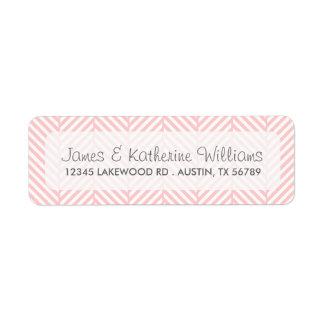 Light Pink Herringbone Modern Wedding Return Address Label