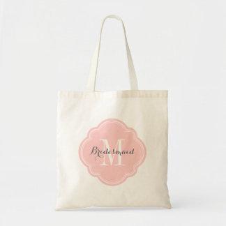 Light Pink Monogram Bridesmaid Tote Bag