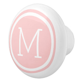 Light Pink Monogram Personalized Drawer Knob