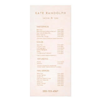 Light Pink Salon Spa Price List Service Menu