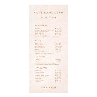 Light Pink Salon Spa Price List Service Menu Rack Card Template