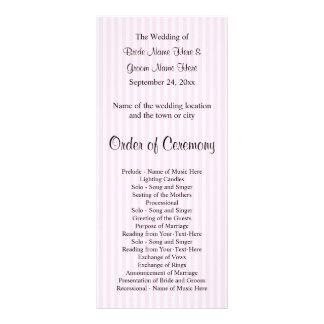 Light Pink Stripes Wedding Program 10 Cm X 23 Cm Rack Card