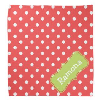 Light Red and Palm Green Polka Dot Personalized Bandana