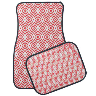 Light Red and White Diamond Pattern Car Mat