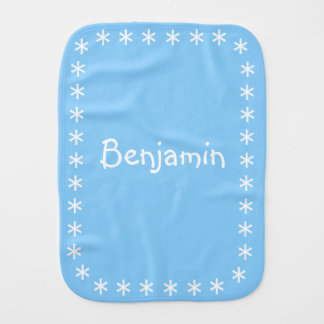 Light Sky Blue Color Baby Burp Cloth with Name