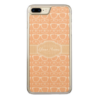 Light Tan and White Geek Glasses Carved iPhone 8 Plus/7 Plus Case