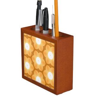 Light Tangerine Dark Flower Pattern Desk Organiser