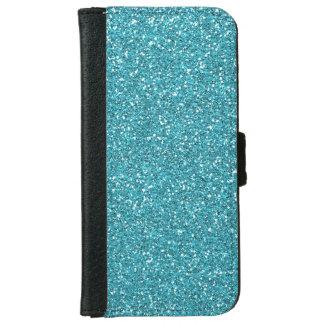 Light Teal Peacock Blue Glitter Effect iPhone 6 Wallet Case