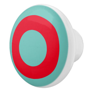 Light Teal With Bright Red Circle Ceramic Knob
