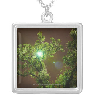 Light Through Trees at night Silver Plated Necklace