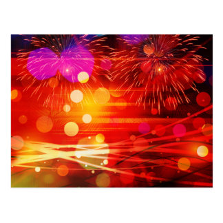 Light Up the Sky Light Rays and Fireworks Postcard