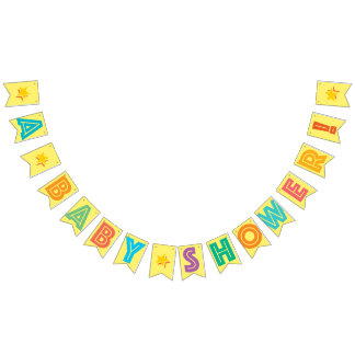 LIGHT YELLOW MULTICOLORED ☆ A BABY SHOWER ☆ SIGN BUNTING